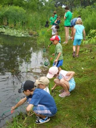 kids at pond