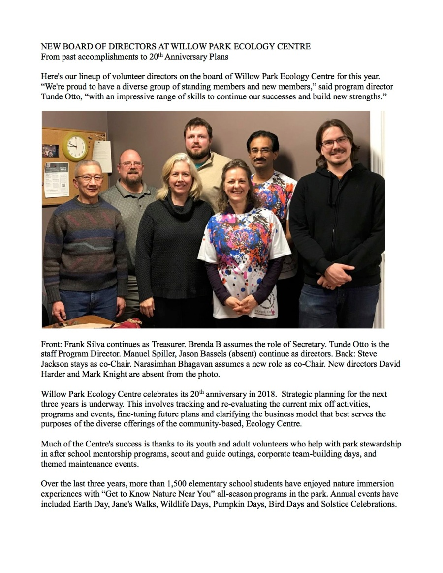 New Board of Directors at Willow Park Ecology Centre.Feb18.1Junupdatedforwebsite